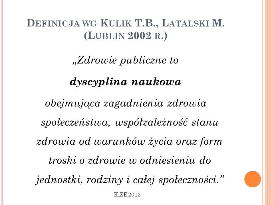 D EFINICJA WG K ULIK T.B., L ATALSKI M. (L UBLIN 2002 R.) Zdrowie publiczne to dyscyplina naukowa obejmująca zagadnienia zdrowia społeczeństwa, współz