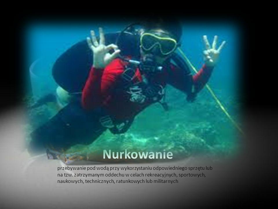 Nurkowanie przebywanie pod wodą przy wykorzystaniu odpowiedniego sprzętu lub na tzw. zatrzymanym oddechu w celach rekreacyjnych, sportowych, naukowych