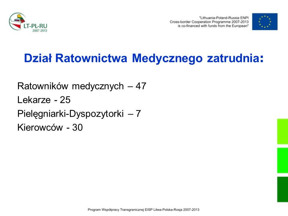 Dział Ratownictwa Medycznego zatrudnia : Ratowników medycznych – 47 Lekarze - 25 Pielęgniarki-Dyspozytorki – 7 Kierowców - 30