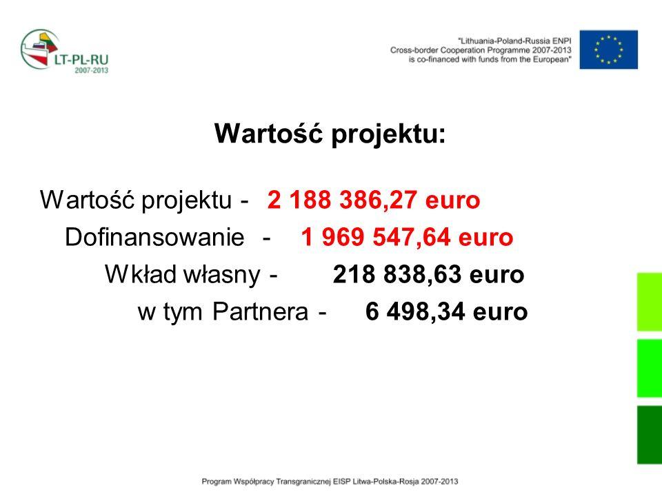 Wartość projektu: Wartość projektu - 2 188 386,27 euro Dofinansowanie - 1 969 547,64 euro Wkład własny - 218 838,63 euro w tym Partnera -6 498,34 euro