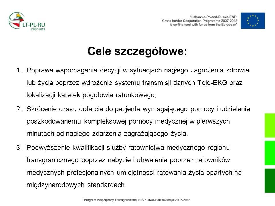 Cele szczegółowe: 1.Poprawa wspomagania decyzji w sytuacjach nagłego zagrożenia zdrowia lub życia poprzez wdrożenie systemu transmisji danych Tele-EKG