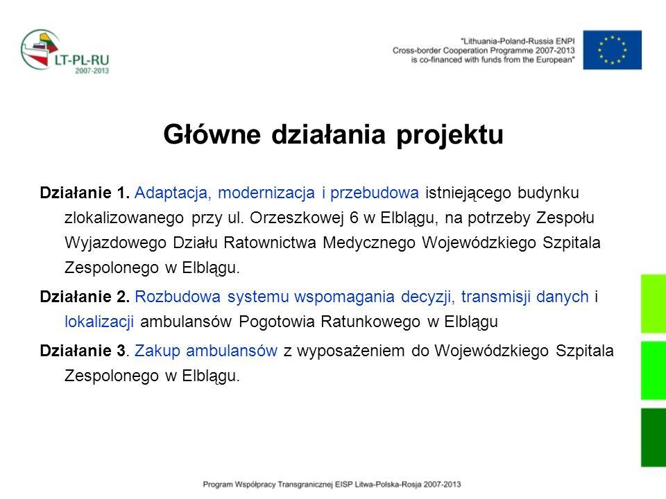 Główne działania projektu Działanie 1. Adaptacja, modernizacja i przebudowa istniejącego budynku zlokalizowanego przy ul. Orzeszkowej 6 w Elblągu, na
