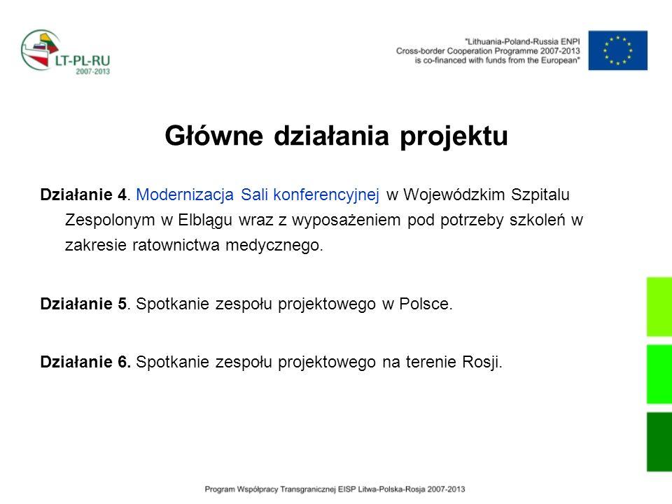Główne działania projektu Działanie 4. Modernizacja Sali konferencyjnej w Wojewódzkim Szpitalu Zespolonym w Elblągu wraz z wyposażeniem pod potrzeby s