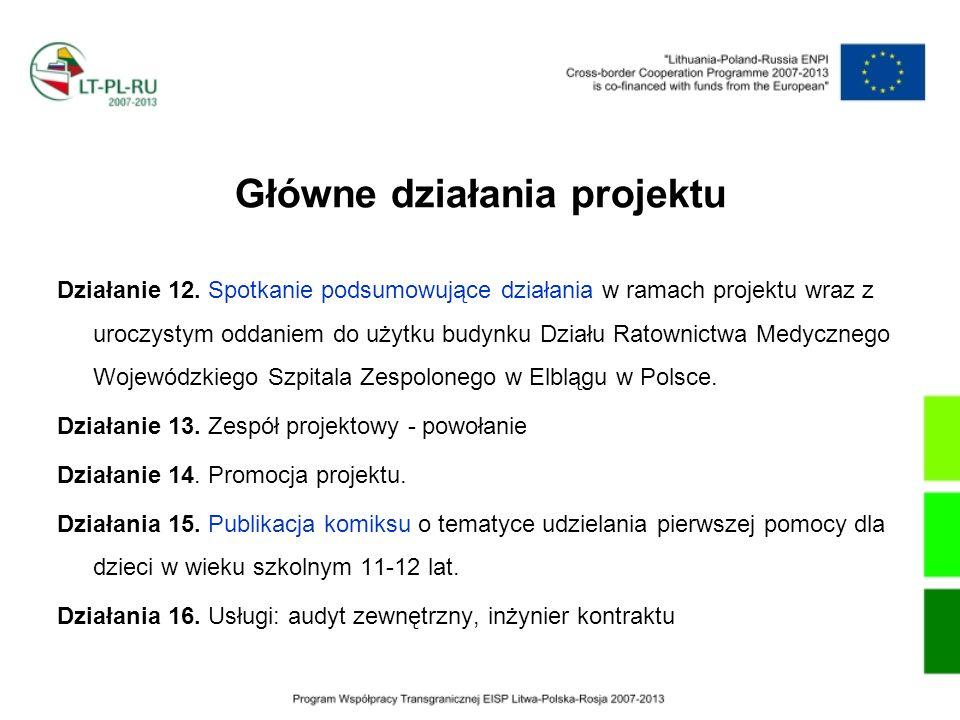 Działanie 12. Spotkanie podsumowujące działania w ramach projektu wraz z uroczystym oddaniem do użytku budynku Działu Ratownictwa Medycznego Wojewódzk