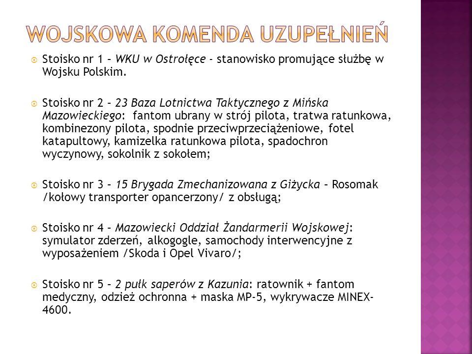 Stoisko nr 1 – WKU w Ostrołęce - stanowisko promujące służbę w Wojsku Polskim. Stoisko nr 2 – 23 Baza Lotnictwa Taktycznego z Mińska Mazowieckiego: fa