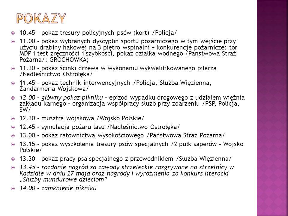 10.45 – pokaz tresury policyjnych psów (kort) /Policja/ 11.00 – pokaz wybranych dyscyplin sportu pożarniczego w tym wejście przy użyciu drabiny hakowe