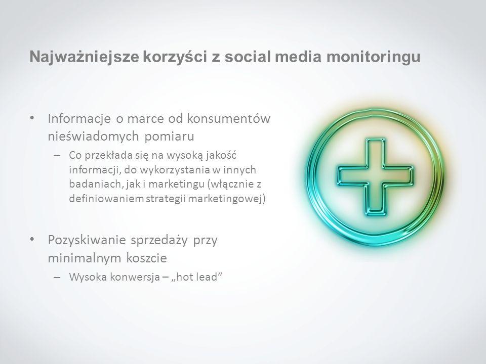 Najważniejsze korzyści z social media monitoringu Informacje o marce od konsumentów nieświadomych pomiaru – Co przekłada się na wysoką jakość informac