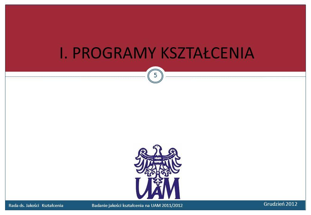 Rada ds. Jakości Kształcenia Badanie jakości kształcenia na UAM 2011/2012 Grudzień 2012 I. PROGRAMY KSZTAŁCENIA 5