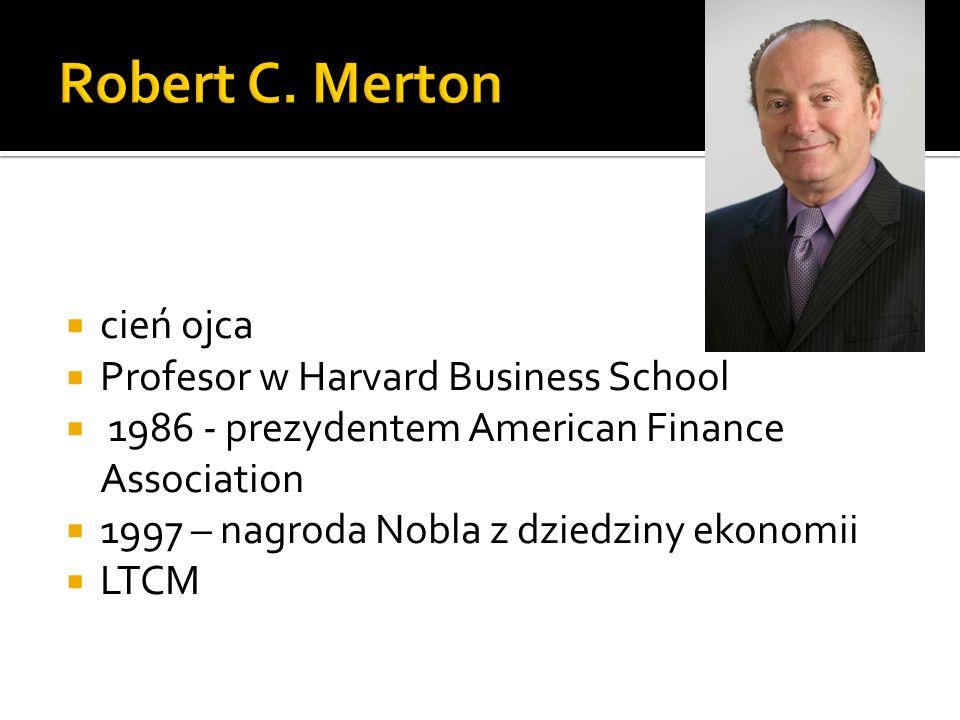 cień ojca Profesor w Harvard Business School 1986 - prezydentem American Finance Association 1997 – nagroda Nobla z dziedziny ekonomii LTCM