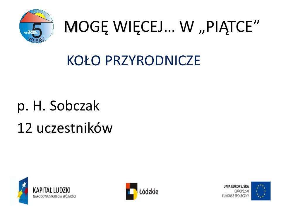 M MOGĘ WIĘCEJ… W PIĄTCE KOŁO PRZYRODNICZE p. H. Sobczak 12 uczestników