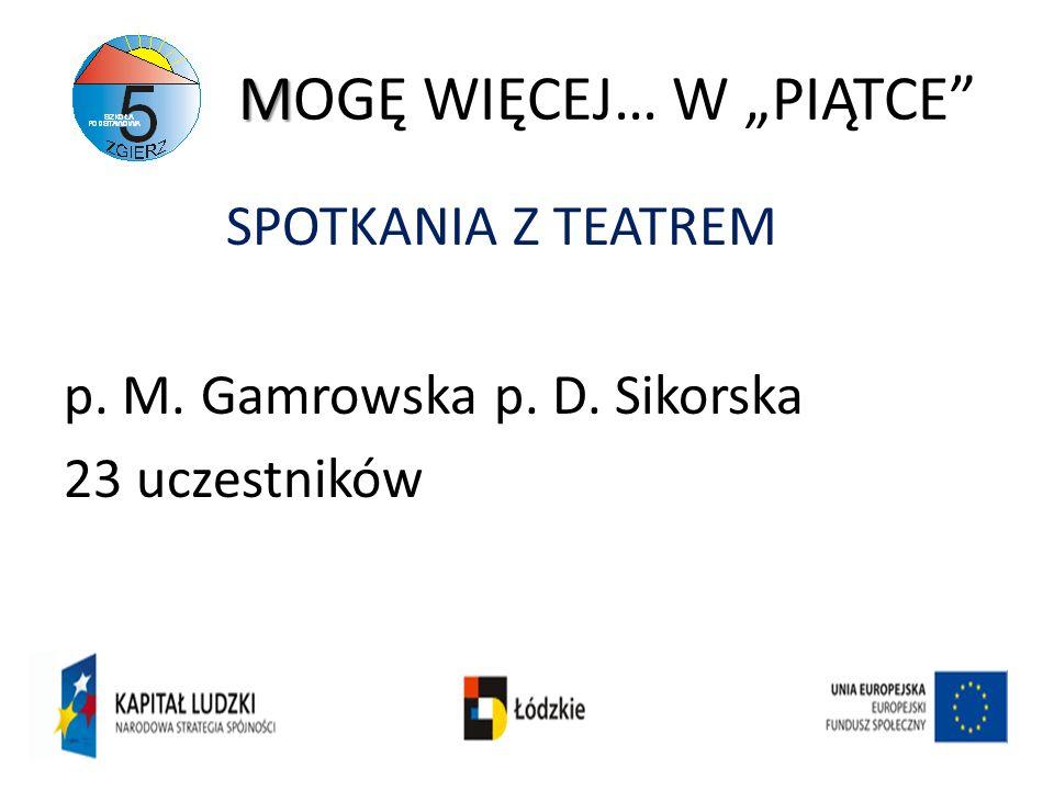 M MOGĘ WIĘCEJ… W PIĄTCE SPOTKANIA Z TEATREM p. M. Gamrowska p. D. Sikorska 23 uczestników