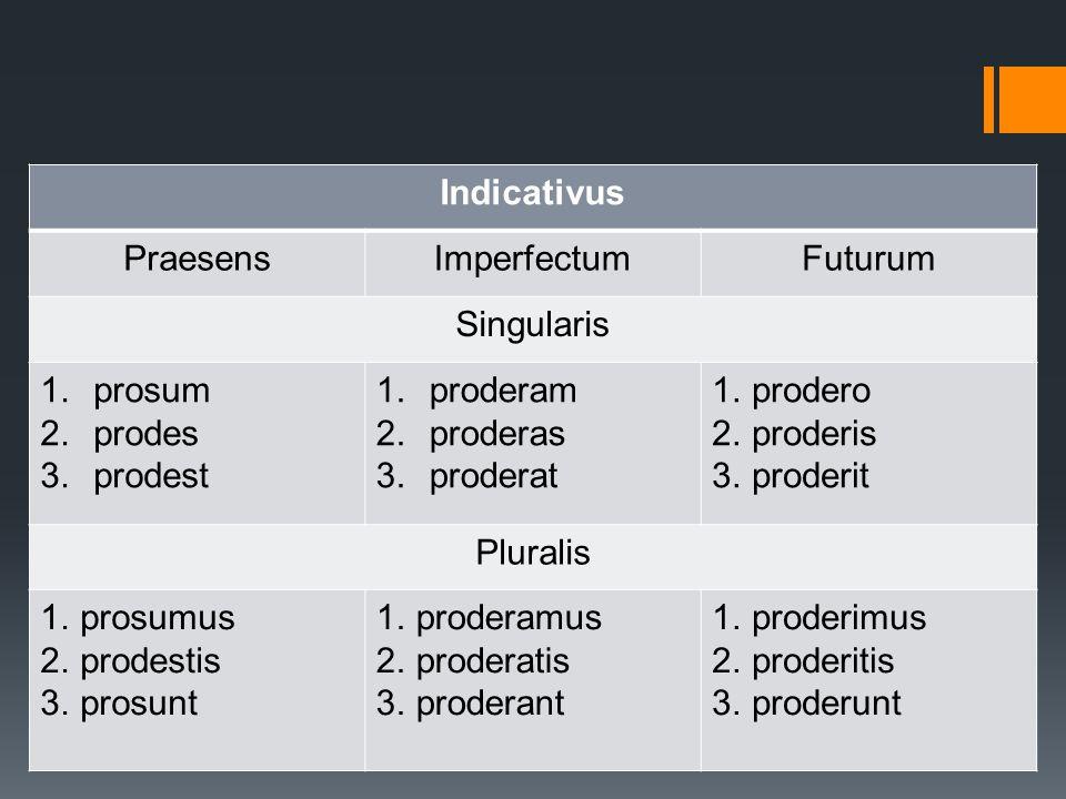 prosum, prodesse, profui Indicativus PraesensImperfectumFuturum Singularis 1.prosum 2.prodes 3.prodest 1.proderam 2.proderas 3.proderat 1.prodero 2.pr