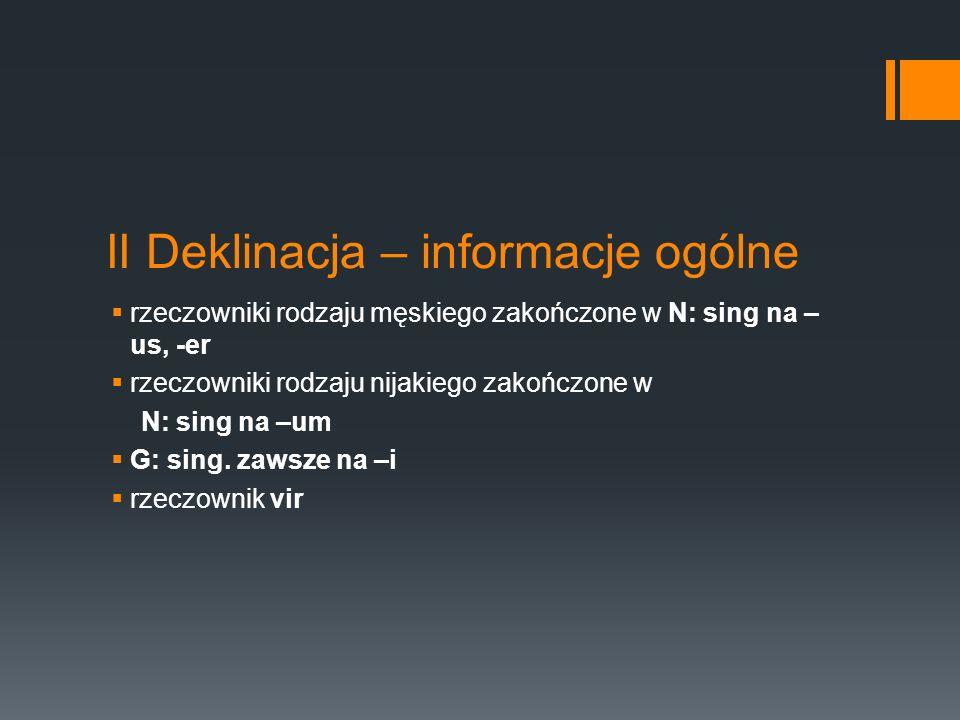 II Deklinacja – informacje ogólne rzeczowniki rodzaju męskiego zakończone w N: sing na – us, -er rzeczowniki rodzaju nijakiego zakończone w N: sing na