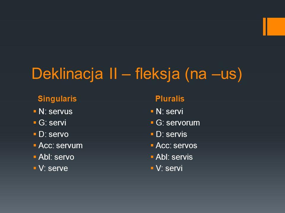 SingularisPluralis Deklinacja II – fleksja (na –us) N: servus G: servi D: servo Acc: servum Abl: servo V: serve N: servi G: servorum D: servis Acc: se
