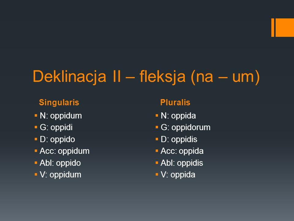 SingularisPluralis Deklinacja II – fleksja (na – um) N: oppidum G: oppidi D: oppido Acc: oppidum Abl: oppido V: oppidum N: oppida G: oppidorum D: oppi
