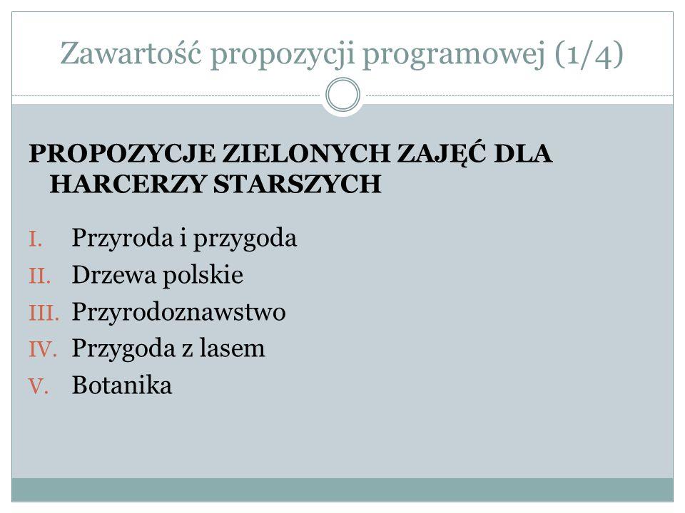 Zawartość propozycji programowej (1/4) PROPOZYCJE ZIELONYCH ZAJĘĆ DLA HARCERZY STARSZYCH I. Przyroda i przygoda II. Drzewa polskie III. Przyrodoznawst