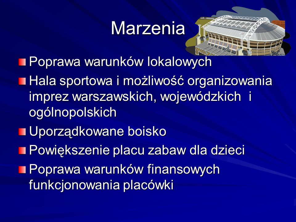 Marzenia Poprawa warunków lokalowych Hala sportowa i możliwość organizowania imprez warszawskich, wojewódzkich i ogólnopolskich Uporządkowane boisko P