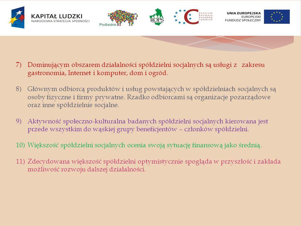 7)Dominującym obszarem działalności spółdzielni socjalnych są usługi z zakresu gastronomia, Internet i komputer, dom i ogród. 8)Głównym odbiorcą produ