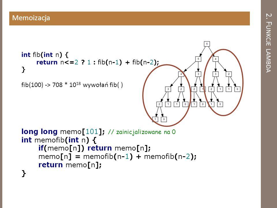 2.F UNKCJE LAMBDA Memoizacja int fib(int n) { return n<=2 .