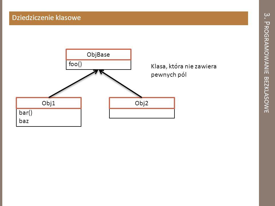 3. P ROGRAMOWANIE BEZKLASOWE Dziedziczenie klasowe Obj2 bar() baz Obj1 Klasa, która nie zawiera pewnych pól foo() ObjBase