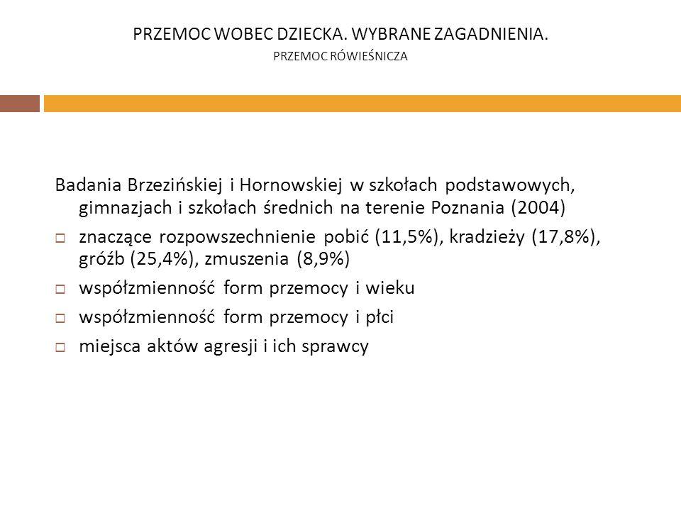 Badania Brzezińskiej i Hornowskiej w szkołach podstawowych, gimnazjach i szkołach średnich na terenie Poznania (2004) znaczące rozpowszechnienie pobić