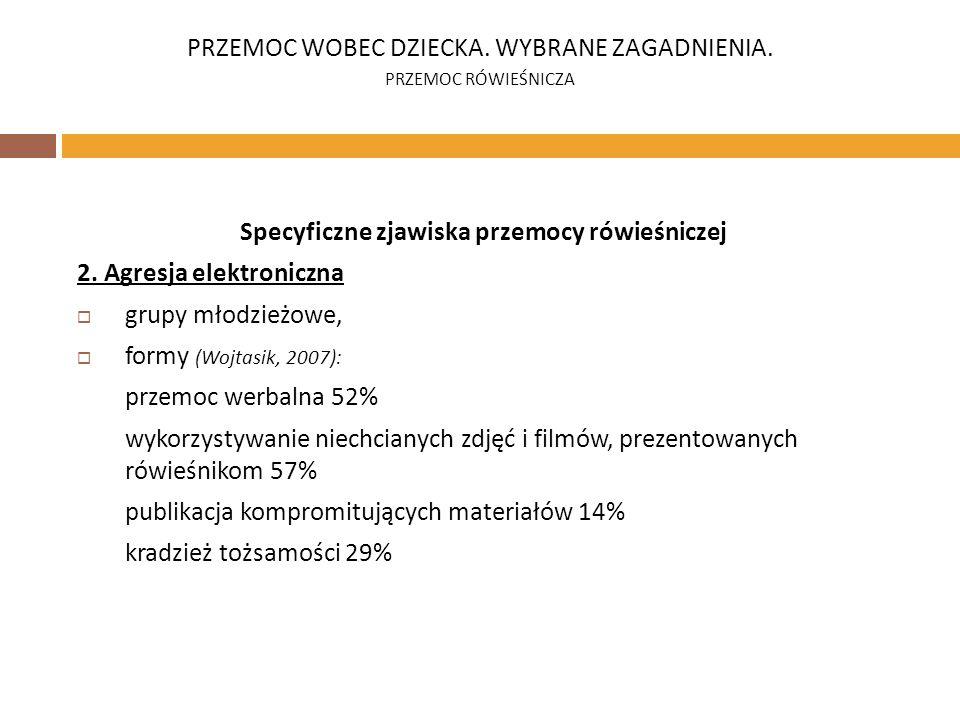 Specyficzne zjawiska przemocy rówieśniczej 2. Agresja elektroniczna grupy młodzieżowe, formy (Wojtasik, 2007): przemoc werbalna 52% wykorzystywanie ni