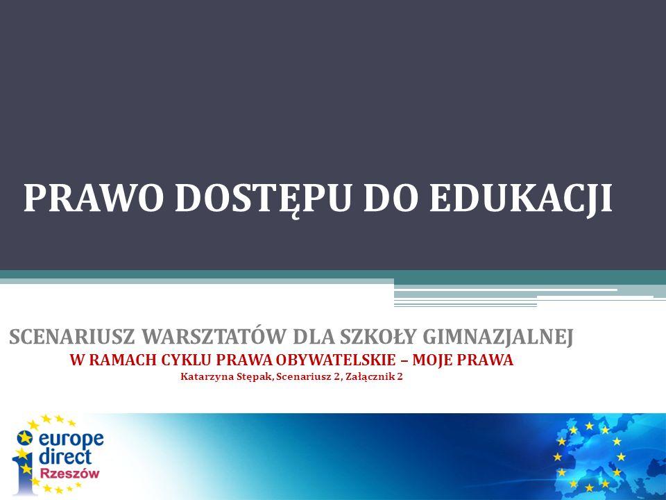 Prawo dostępu do edukacji, a prawa człowieka PRZYRODZONE NIEZBYWALNE NIENARUSZALNE NATURALNE NIEPODZIELNE