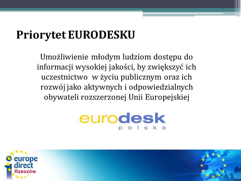 Umożliwienie młodym ludziom dostępu do informacji wysokiej jakości, by zwiększyć ich uczestnictwo w życiu publicznym oraz ich rozwój jako aktywnych i odpowiedzialnych obywateli rozszerzonej Unii Europejskiej Priorytet EURODESKU
