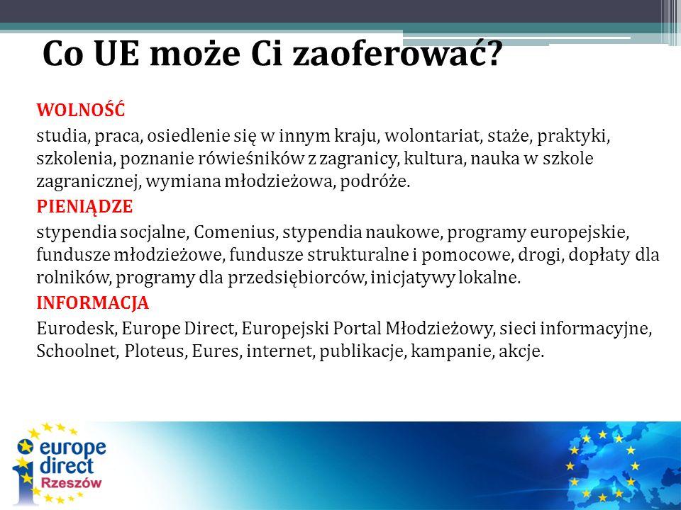 Co UE może Ci zaoferować? WOLNOŚĆ studia, praca, osiedlenie się w innym kraju, wolontariat, staże, praktyki, szkolenia, poznanie rówieśników z zagrani