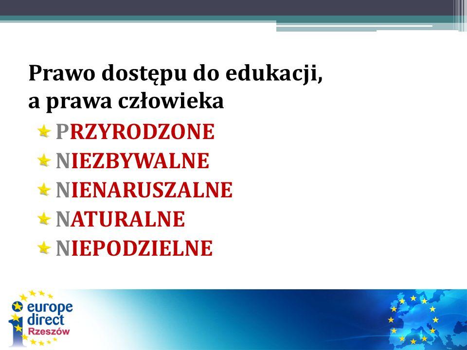 Dokumenty regulujące prawo dostępu do edukacji POWSZECHNA DEKLARACJA PRAW CZŁOWIEKA EUROPEJSKA KONWENCJA O PRAWACH CZŁOWIEKA POWSZECHNA DEKLARACJA PRAW DZIECKA KONWENCJA O PRAWACH DZIECKA