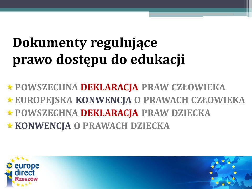 Dokumenty regulujące prawo dostępu do edukacji POWSZECHNA DEKLARACJA PRAW CZŁOWIEKA EUROPEJSKA KONWENCJA O PRAWACH CZŁOWIEKA POWSZECHNA DEKLARACJA PRA
