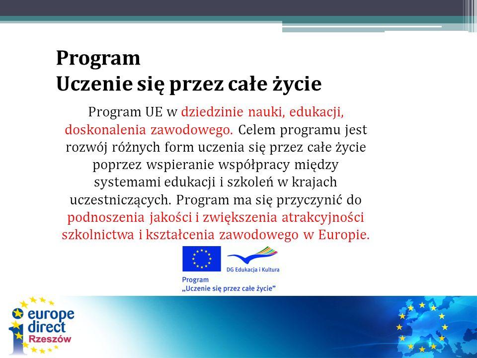 Program Uczenie się przez całe życie Program UE w dziedzinie nauki, edukacji, doskonalenia zawodowego. Celem programu jest rozwój różnych form uczenia