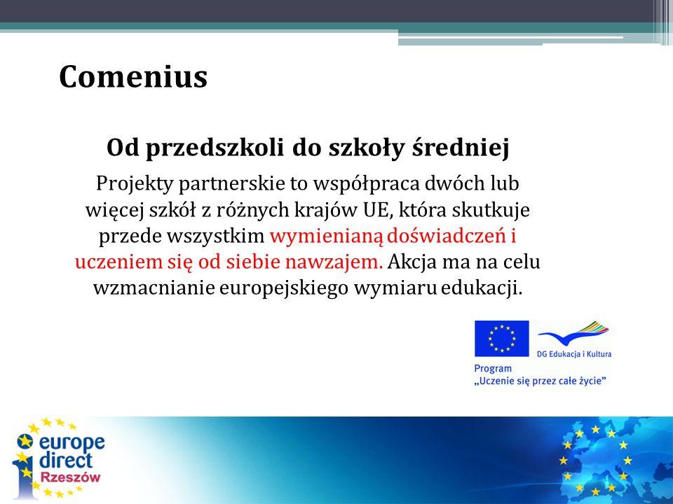 Comenius Od przedszkoli do szkoły średniej Projekty partnerskie to współpraca dwóch lub więcej szkół z różnych krajów UE, która skutkuje przede wszystkim wymienianą doświadczeń i uczeniem się od siebie nawzajem.