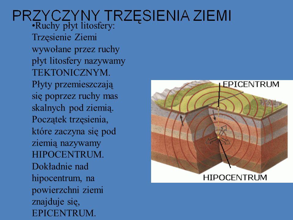Ruchy płyt litosfery: Trzęsienie Ziemi wywołane przez ruchy płyt litosfery nazywamy TEKTONICZNYM. Płyty przemieszczają się poprzez ruchy mas skalnych