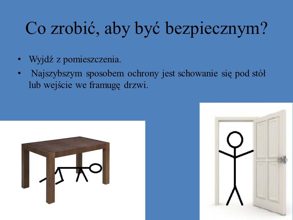 Co zrobić, aby być bezpiecznym? Wyjdź z pomieszczenia. Najszybszym sposobem ochrony jest schowanie się pod stół lub wejście we framugę drzwi.