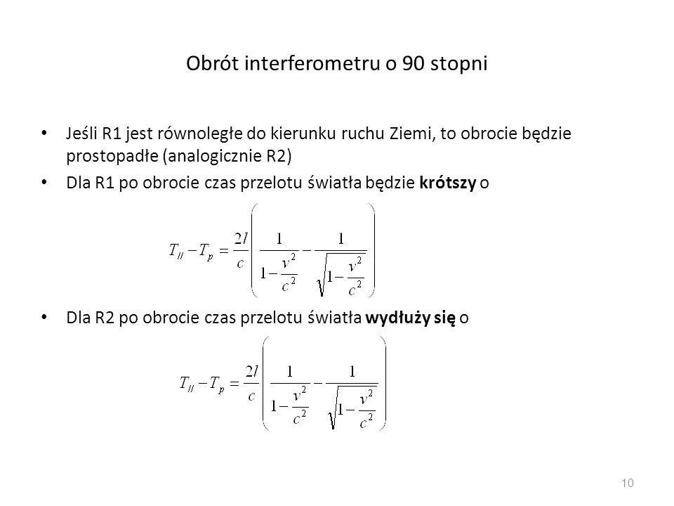 Obrót interferometru o 90 stopni Jeśli R1 jest równoległe do kierunku ruchu Ziemi, to obrocie będzie prostopadłe (analogicznie R2) Dla R1 po obrocie c