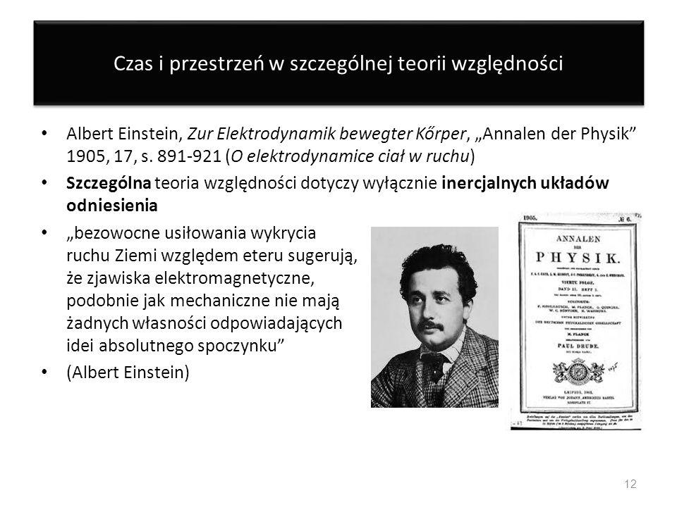 Czas i przestrzeń w szczególnej teorii względności Albert Einstein, Zur Elektrodynamik bewegter Kőrper, Annalen der Physik 1905, 17, s. 891-921 (O ele