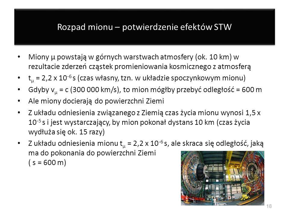 Rozpad mionu – potwierdzenie efektów STW Miony μ powstają w górnych warstwach atmosfery (ok. 10 km) w rezultacie zderzeń cząstek promieniowania kosmic