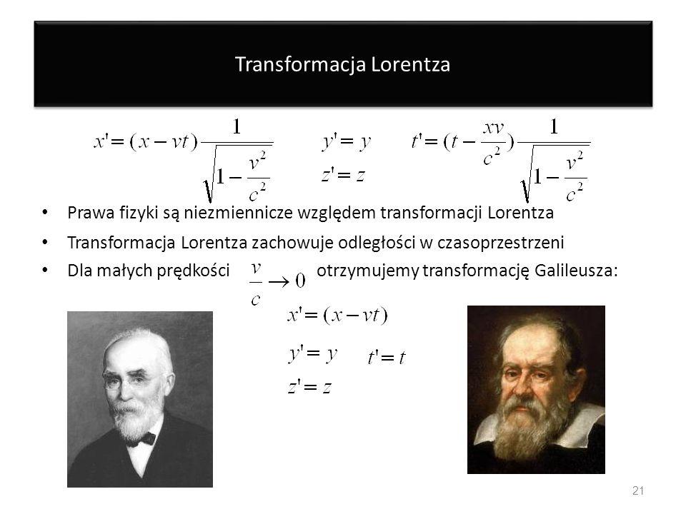 Transformacja Lorentza Prawa fizyki są niezmiennicze względem transformacji Lorentza Transformacja Lorentza zachowuje odległości w czasoprzestrzeni Dl