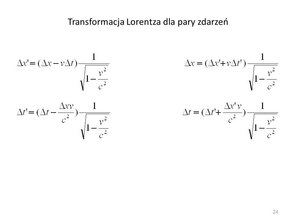 Transformacja Lorentza dla pary zdarzeń 24