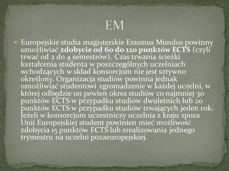 Europejskie studia magisterskie Erasmus Mundus powinny umożliwiać zdobycie od 60 do 120 punktów ECTS (czyli trwać od 2 do 4 semestrów). Czas trwania ś