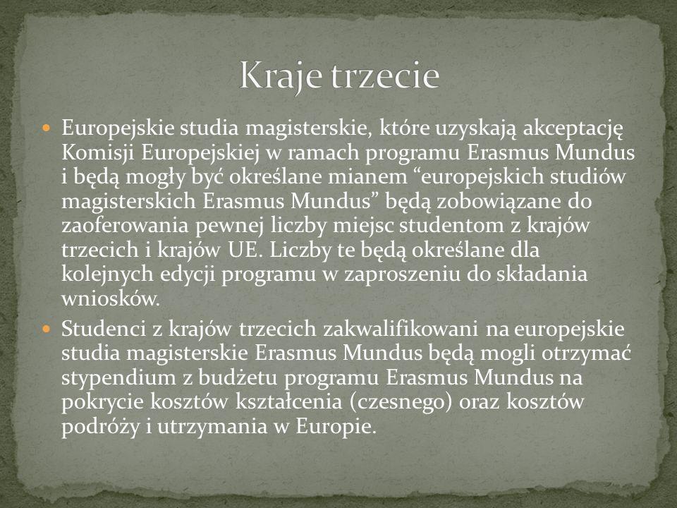 Europejskie studia magisterskie, które uzyskają akceptację Komisji Europejskiej w ramach programu Erasmus Mundus i będą mogły być określane mianem eur