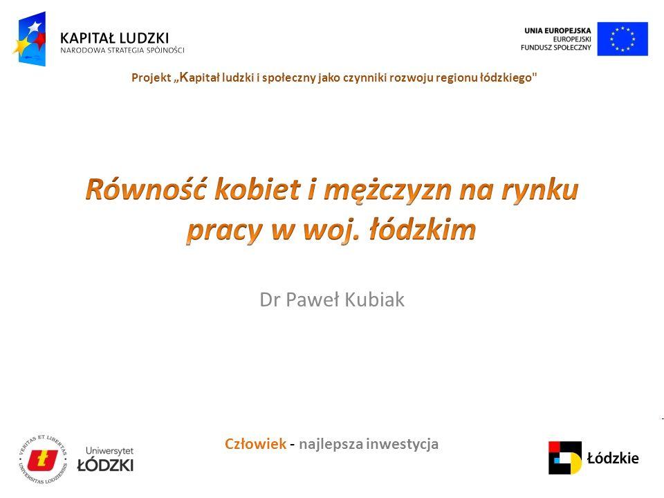Człowiek - najlepsza inwestycja Projekt K apitał ludzki i społeczny jako czynniki rozwoju regionu łódzkiego Dr Paweł Kubiak