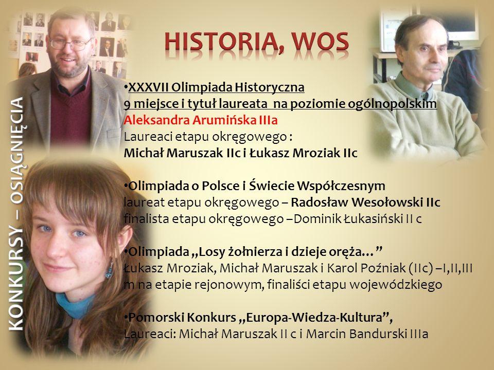 XXXVII Olimpiada Historyczna 9 miejsce i tytuł laureata na poziomie ogólnopolskim Aleksandra Arumińska IIIa Laureaci etapu okręgowego : Michał Marusza