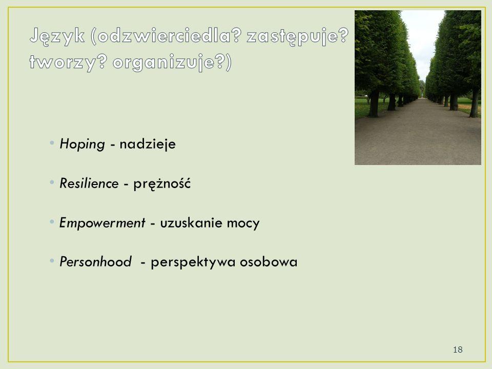 Hoping - nadzieje Resilience - prężność Empowerment - uzuskanie mocy Personhood - perspektywa osobowa 18