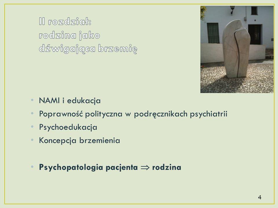 NAMI i edukacja Poprawność polityczna w podręcznikach psychiatrii Psychoedukacja Koncepcja brzemienia Psychopatologia pacjenta rodzina 4