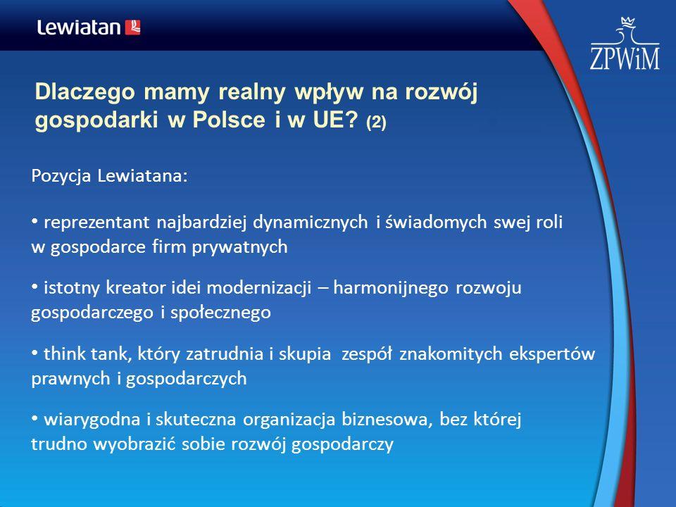 Dlaczego mamy realny wpływ na rozwój gospodarki w Polsce i w UE? (2) Pozycja Lewiatana: reprezentant najbardziej dynamicznych i świadomych swej roli w