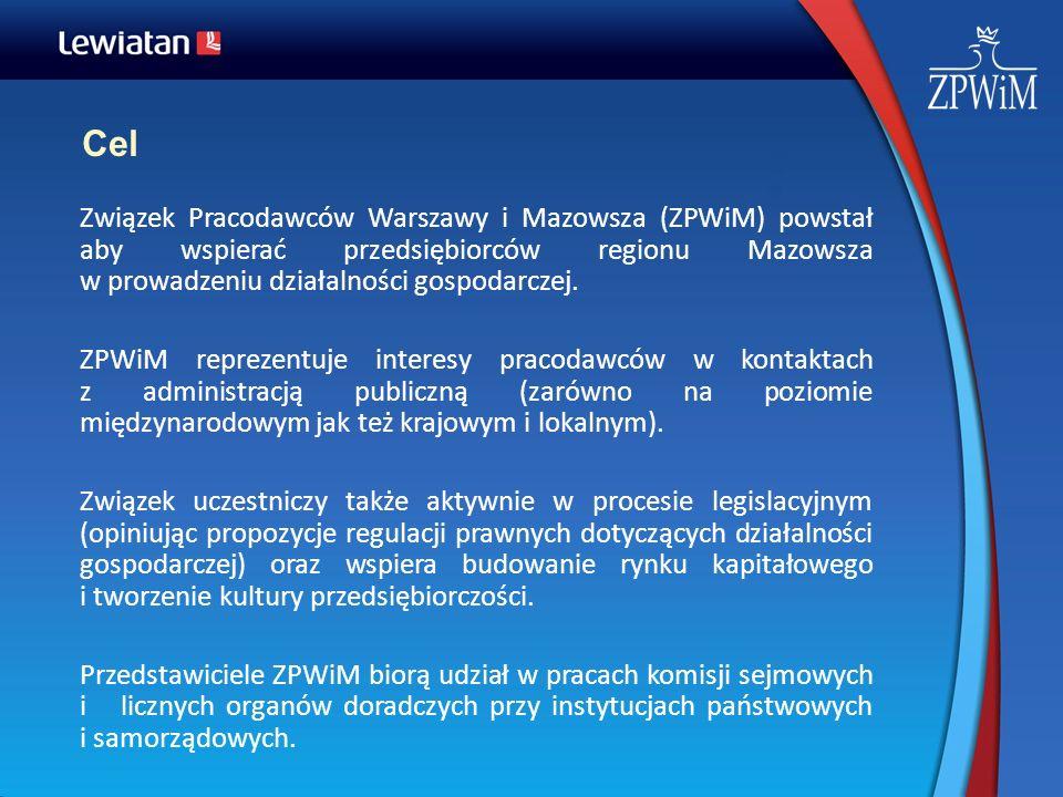 Cel Związek Pracodawców Warszawy i Mazowsza (ZPWiM) powstał aby wspierać przedsiębiorców regionu Mazowsza w prowadzeniu działalności gospodarczej. ZPW