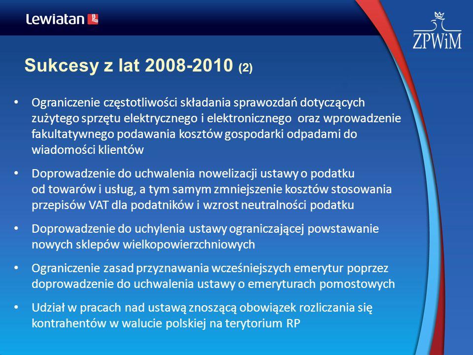 Sukcesy z lat 2008-2010 (2) Ograniczenie częstotliwości składania sprawozdań dotyczących zużytego sprzętu elektrycznego i elektronicznego oraz wprowad