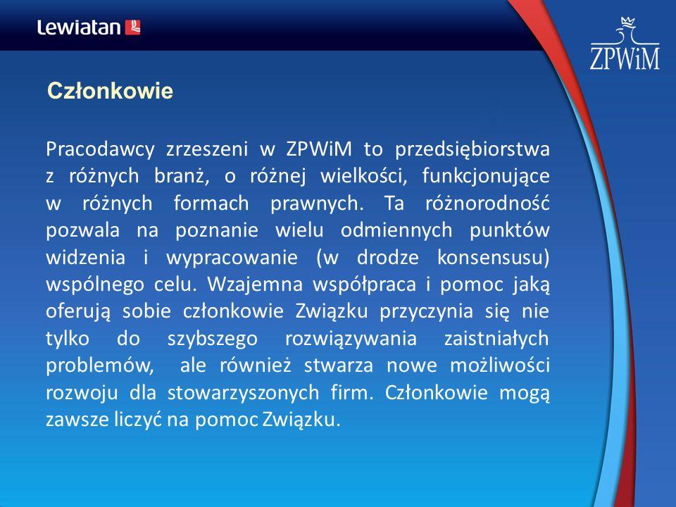 Członkowie Pracodawcy zrzeszeni w ZPWiM to przedsiębiorstwa z różnych branż, o różnej wielkości, funkcjonujące w różnych formach prawnych. Ta różnorod